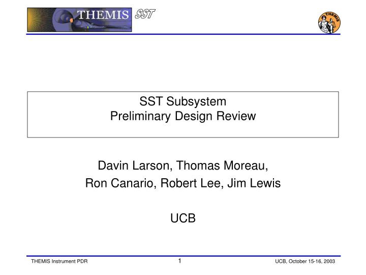 sst subsystem preliminary design review n.