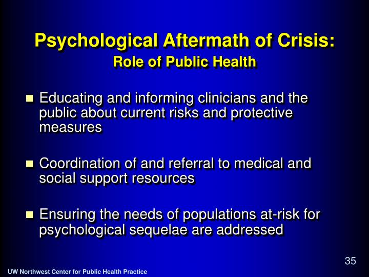 Psychological Aftermath of Crisis: