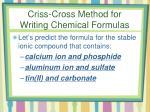 criss cross method for writing chemical formulas