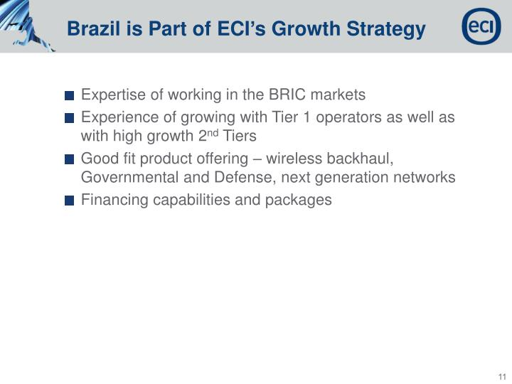 Brazil is Part of ECI's Growth Strategy