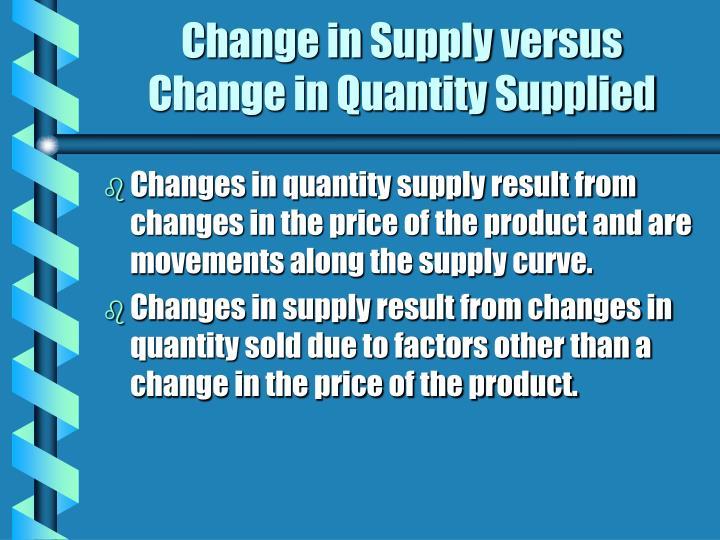 Change in Supply versus