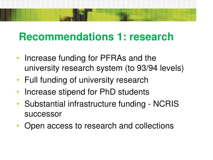 Recommendations 1: research