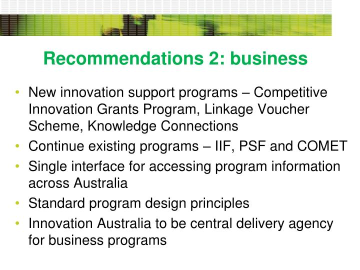 Recommendations 2: business