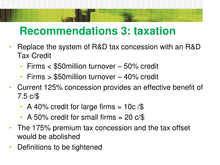 Recommendations 3: taxation