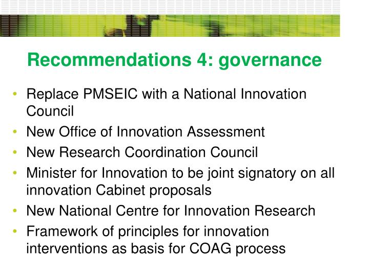 Recommendations 4: governance