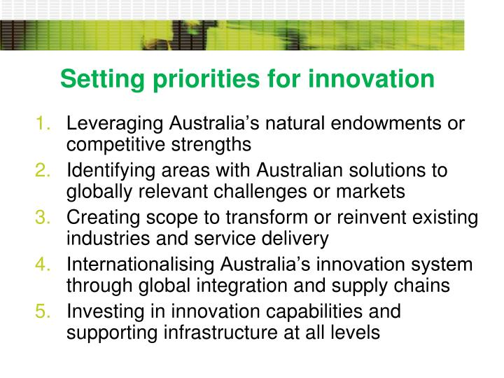 Setting priorities for innovation