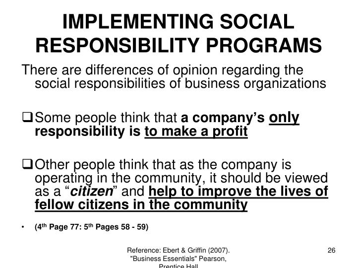 IMPLEMENTING SOCIAL RESPONSIBILITY PROGRAMS
