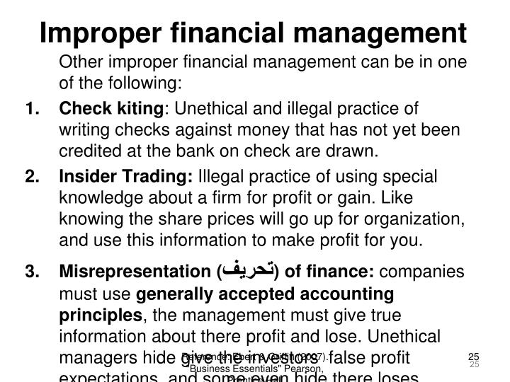 Improper financial management