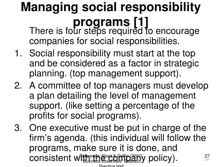 Managing social responsibility programs [1]