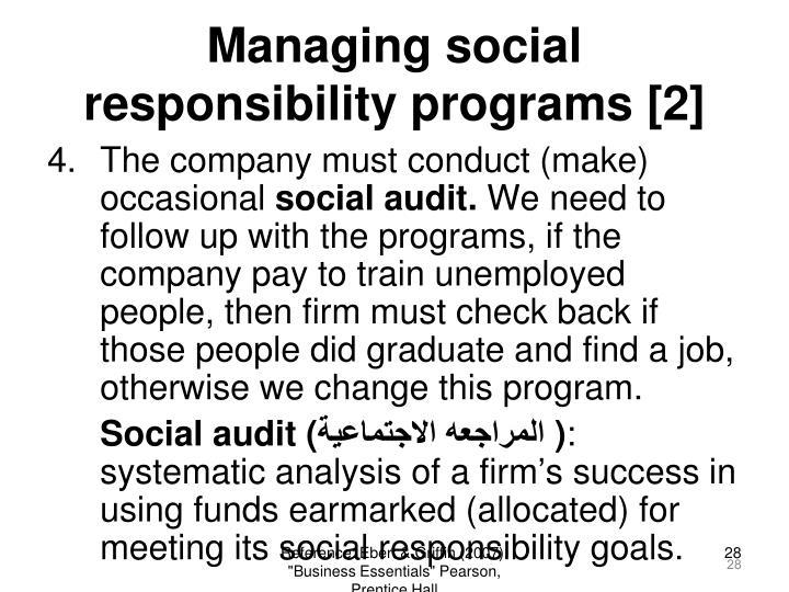 Managing social responsibility programs [2]
