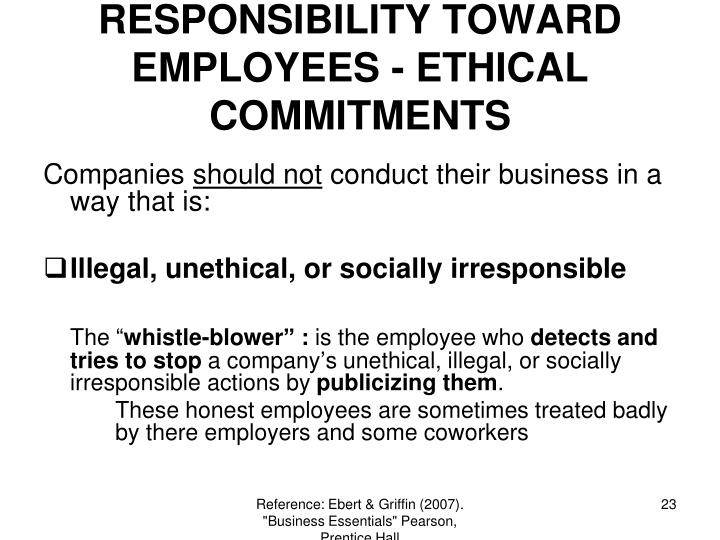 RESPONSIBILITY TOWARD EMPLOYEES - ETHICAL COMMITMENTS