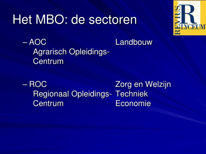 Het MBO: de sectoren