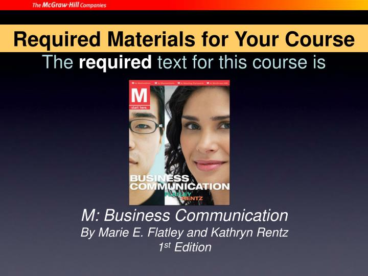 Required Materials for Your Course