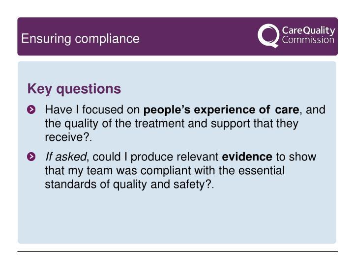 Ensuring compliance