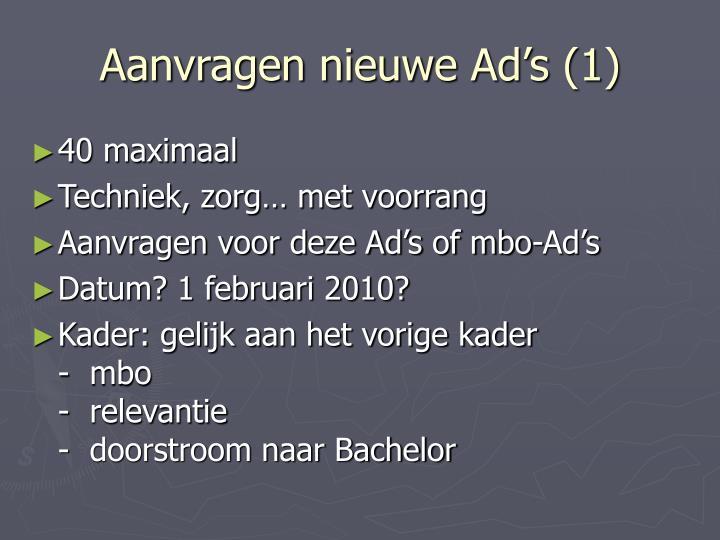 Aanvragen nieuwe Ad's (1)