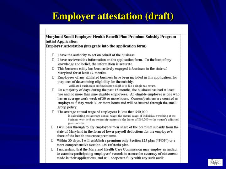 Employer attestation (draft)