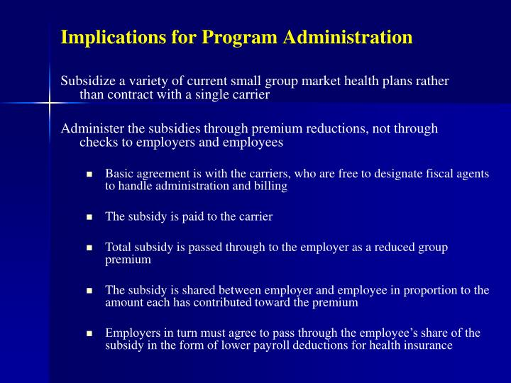 Implications for Program Administration