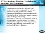 cy2009 medicare physician fee schedule proposed rule continued
