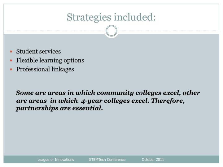 Strategies included: