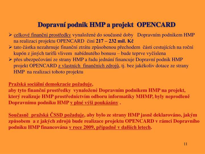 Dopravní podnik HMP a projekt  OPENCARD