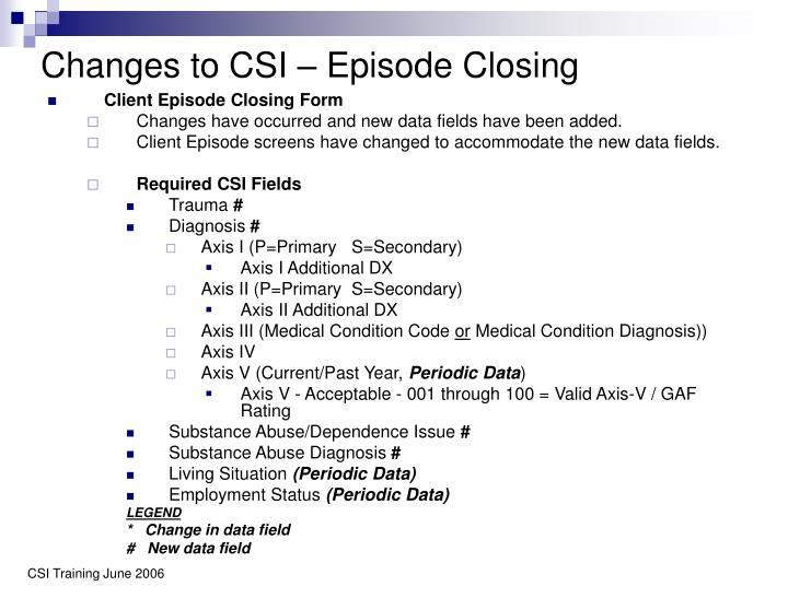 Changes to CSI – Episode Closing