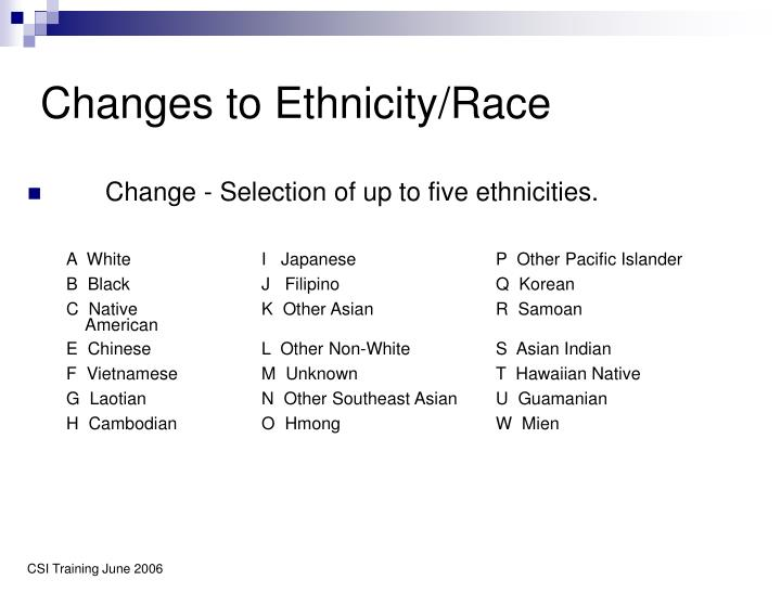 Changes to Ethnicity/Race