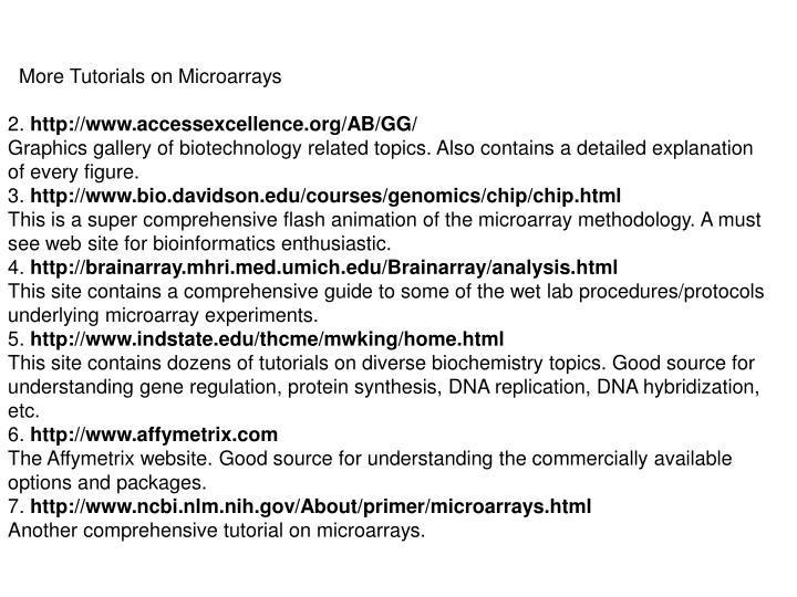 More Tutorials on Microarrays