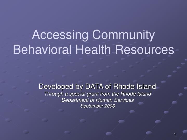 accessing community behavioral health resources n.