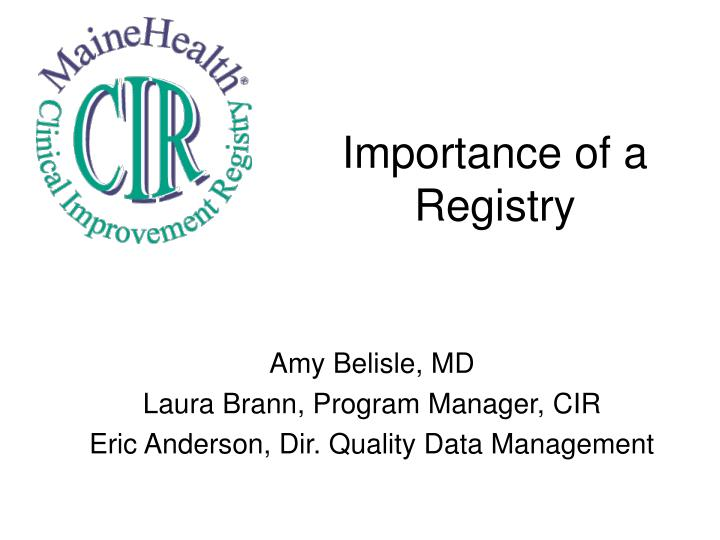 importance of a registry n.