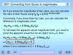 1b11 converting from fluxes to magnitudes