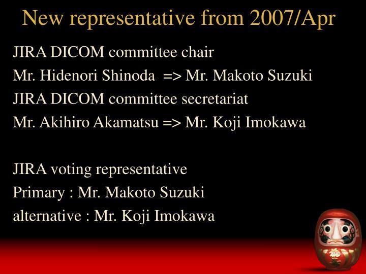 New representative from 2007 apr