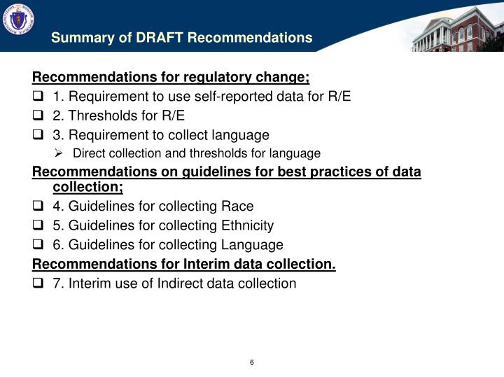 Summary of DRAFT Recommendations