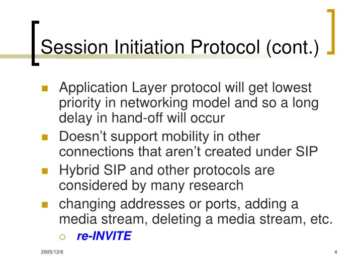 Session Initiation Protocol (cont.)