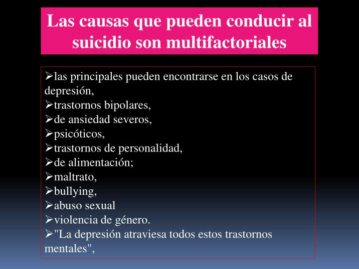 Las causas que pueden conducir al suicidio son multifactoriales