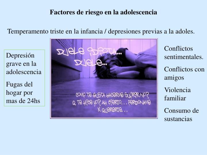 Factores de riesgo en la adolescencia
