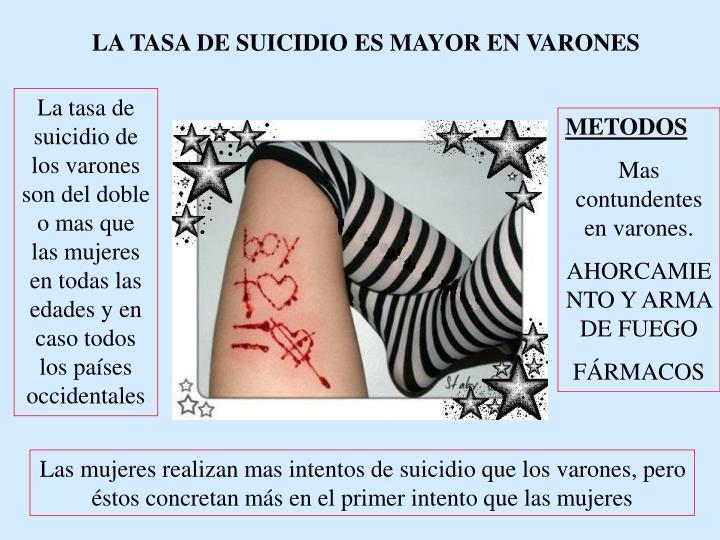 LA TASA DE SUICIDIO ES MAYOR EN VARONES