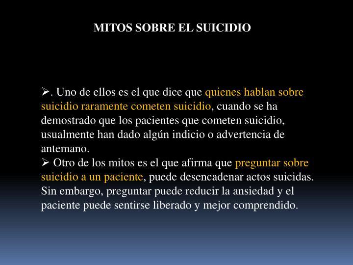 MITOS SOBRE EL SUICIDIO
