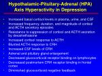 hypothalamic pituitary adrenal hpa axis hyperactivity in depression