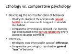 ethology vs comparative psychology