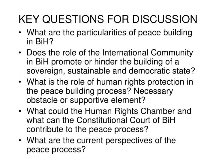 KEY QUESTIONS FOR DISCUSSION