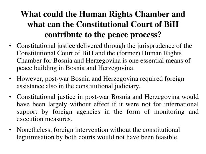 What could the Human Rights Chamber and what can the Constitutional Court of BiH contribute to the peace process?