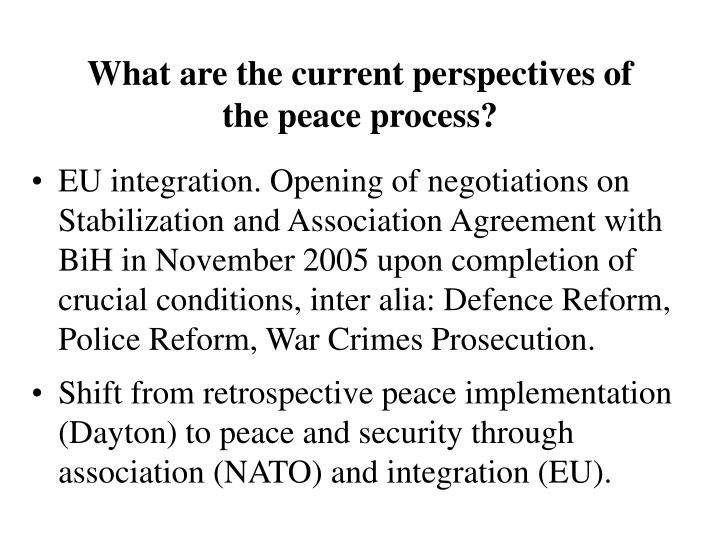 What are the current perspectives of the peace process?