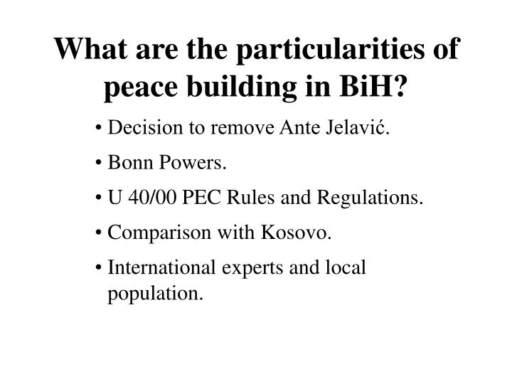 What are the particularities of peace building in BiH?