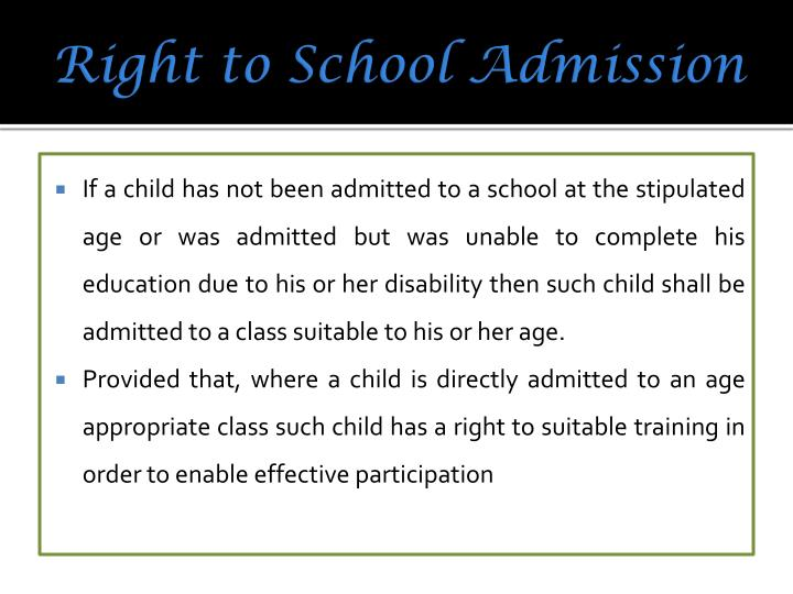 Right to School Admission