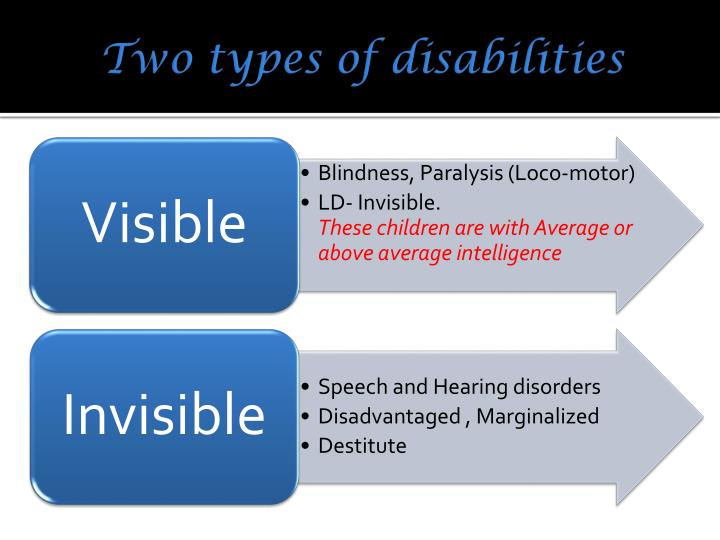 Two types of disabilities