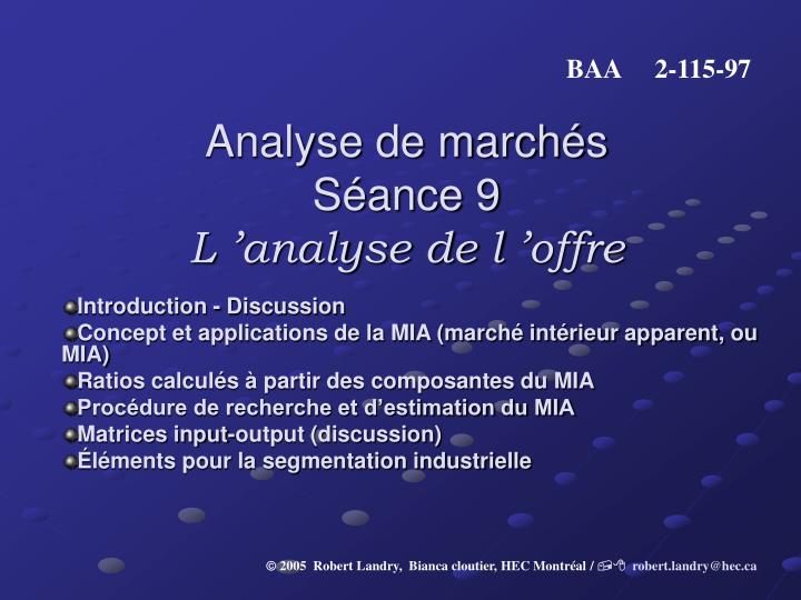 analyse de march s s ance 9 l analyse de l offre n.
