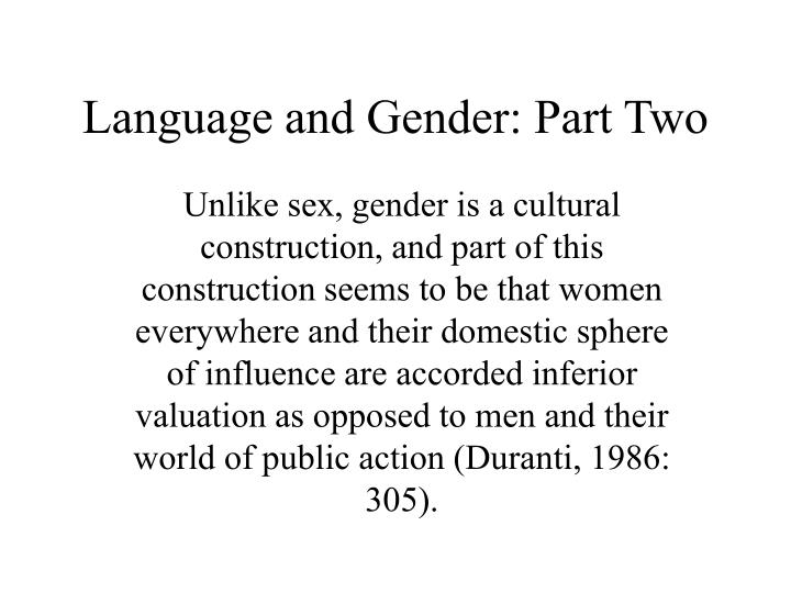 language and gender part two n.