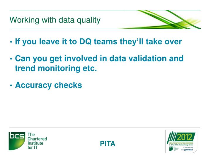 Working with data quality