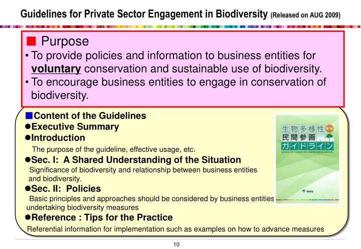 Guidelines for Private Sector Engagement in Biodiversity