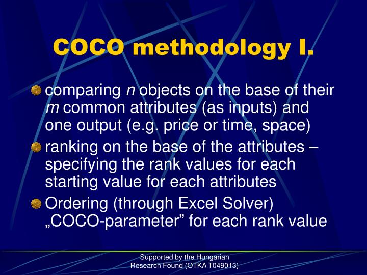 Coco methodology i